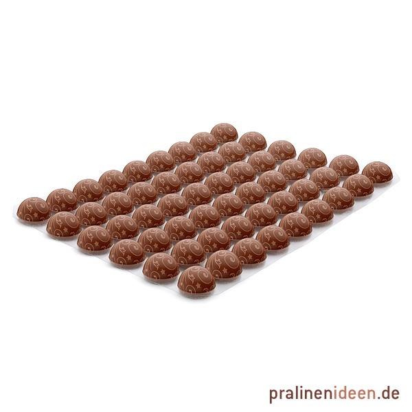 Dekor-Halbkugel Ornament Vollmilch, 1 Lage mit 54 Stück
