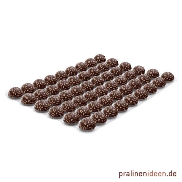 Dekor-Halbkugel Ornament Zartbitter, 1 Lage mit 54 Stück