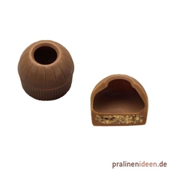 Pralinenhohlkugeln mit Waffeleinlage Vollmilch, 1 Lage mit 63 Stück