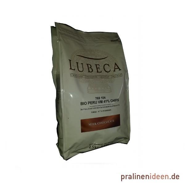 2,5kg Lubeca Kuvertüre Peru VM 41% Originalabpackung