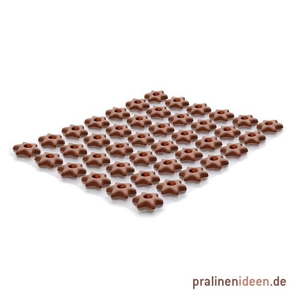 Hohlkörper Stern Vollmilch, 1 Lage mit 42 Stück