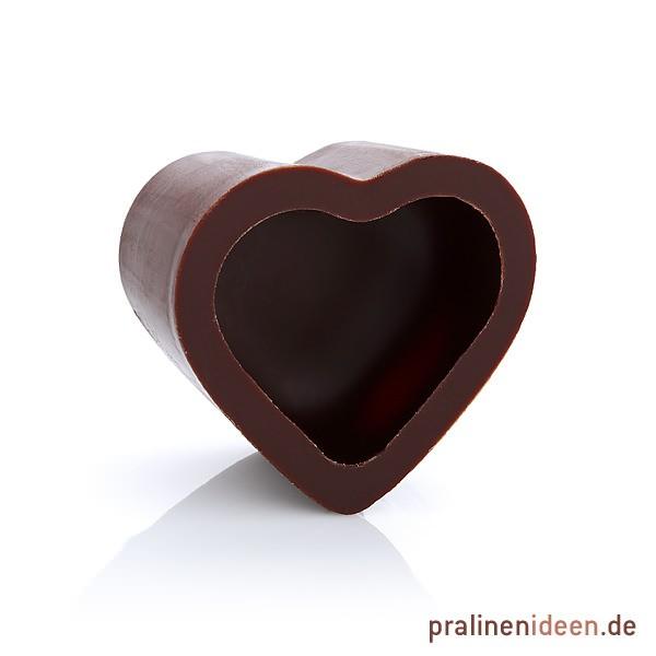 Herz-Halbschale Zartbitter, 1 Lage mit 54Stück