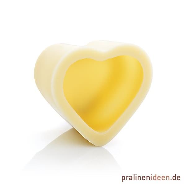 Herz-Halbschale weiße Schokolade, 1 Lage mit 54 Stück