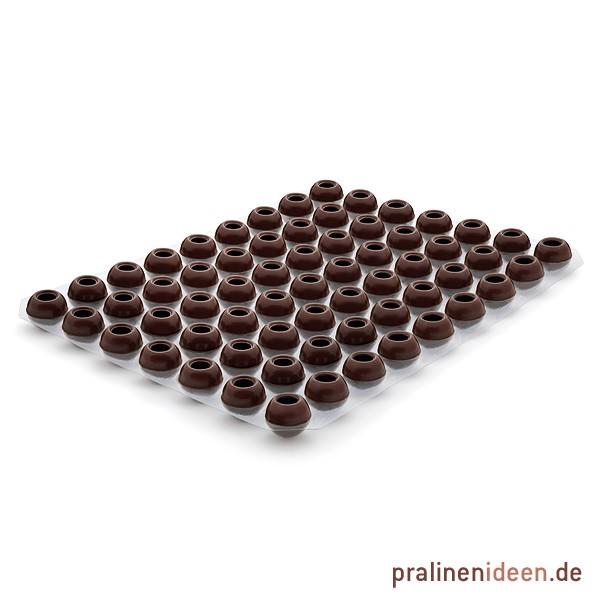 Pralinenhohlkugeln Zartbitter, 1 Lage mit 63 Stück