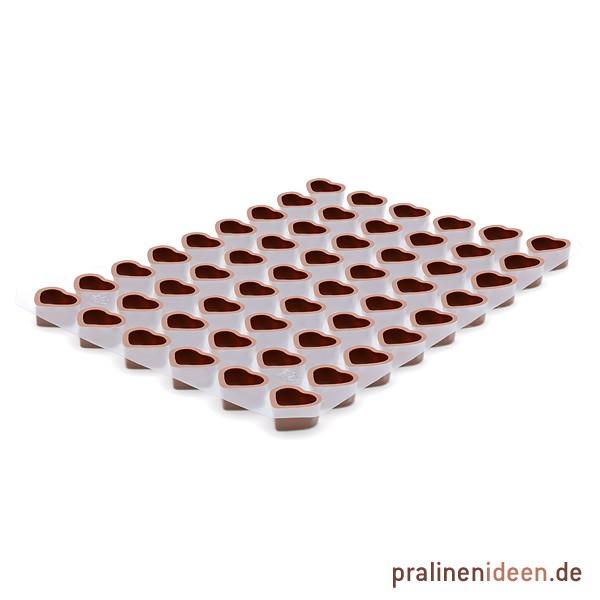 Herz-Halbschale Vollmilch, 1 Lage mit 54 Stück