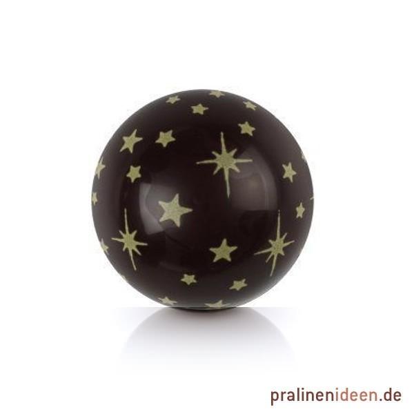 Dekor-Hohlkugel Sterne Zartbitter, 1 Lage mit 63 Stück